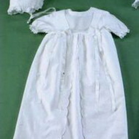 Handmade Linen Christening Dress And Bonnet With Milano Mosaic, Price/piece