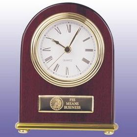 Rosewood Clock With G/P Accent - Arch Style, Price/piece