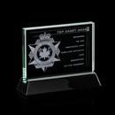 Custom Jade Walkerton Award w/ Rosewood or Black Wood Base (4