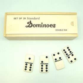 Double 6 Standard Wooden Case Dominoes (Screened), Price/piece