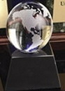 Custom Clear Glass World Globe Award w/ Base (2 1/2
