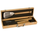 Custom Eco-friendly 3-piece barbecue set in Bamboo Case (Laser engraved)