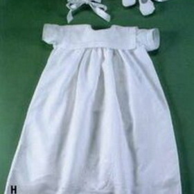 Handmade Linen Christening Dress And Bonnet With Madeira Crest & Booties, Price/piece