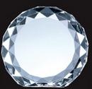 Custom Optical Crystal Gem-Cut Circle Award - Small