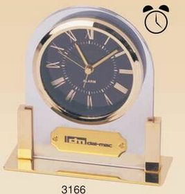 Gold Plated Acrylic Alarm Clock (Screened), Price/piece