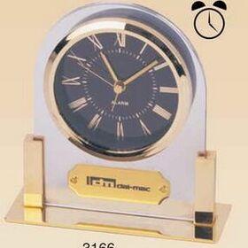 Gold Plated Acrylic Alarm Clock (Screened), Price/piece
