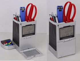 Clock & Calculator W/Pen Holder, Price/piece