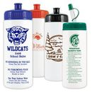 Custom 16 Oz. White Sports Bottle w/ Choice of Cap