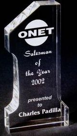 "Number One Crystal Award (3/4""x2-1/2""x5""), Price/piece"