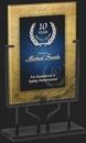 Custom Golden & Blue Rectangular Acrylic Award, 9 1/2