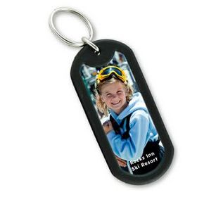 "Illini Photo Dog Tag Key Tag, Pad Printed, 1 7/16"" W X 3 1/16"" L, Price/piece"