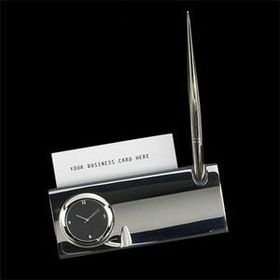 Silver Plated Business Card Holder W/ Clock-Screened, Price/piece