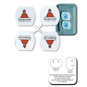 "Illini Safety Plug Cover, Pad Printed, 1 7/16"" W X 1 3/8"" L, Price/piece"