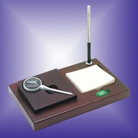 Wood Memo Holder W/Pen & Magnifier (Screened), Price/piece