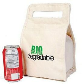 "Insulated Cotton Lunch Bag, Screen Printed, 7"" W X 11"" H X 5"" D, Price/piece"