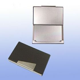 Metal Card Case W/ Brown Pu Coated, Price/piece