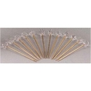 Custom 12 Piece Gold Plated Martini Pick Set W/ Austrian Crystal Toppers