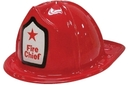Child's Plastic Fire Chief Hat with Custom Label on Side of Hat