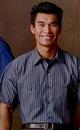 Custom Khaki Beige / Navy Blue Men's Short Sleeve Stripe Shirt