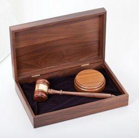 """Genuine Walnut Gavel & Sound Block in Matching 12 1/2""""x8"""" Case, Price/piece"""