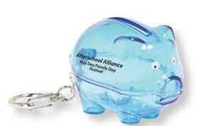 Translucent Blue Piggy Bank Keychain, Price/piece