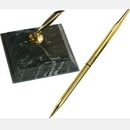 Custom Green Marble Single Pen Stand And Solid Green Marble Base ( Screen Printe, 3 7/8