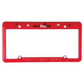 "Evans License Plate Frame (4 Hole W/ Straight Top), Screen Printed, 12 1/4"" W X 6 3/8"" H X 1 1/4"" D, Price/piece"