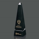Custom Black Genuine Marble Groove Obelisk Award (12