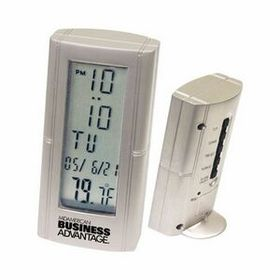 Die-Cast Metal Desk Alarm Clock w/Thermometer, Price/piece