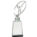 Custom Crystal Golf Award w/ Silver Metal Oval Figure (12