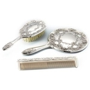 Custom Antique Silver Plated 3-Piece Dresser Set