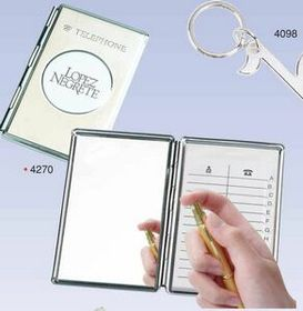 Chrome Cover Telephone & Address Book W/ Mirror (Screened), Price/piece