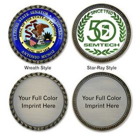 "Die Cast ""Speed"" Challenge Coin with Full Color Imprint, Price/piece"