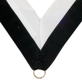 "Black/White Grosgrain Imported V Neck Ribbon - Medal Holder (32""x1 3/8""), Price/piece"