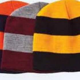 Jersey Knit Rugby 2 Tone Beanie with Contrasting Stripe, Price/piece