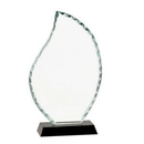 Custom Flame Shaped Facet Glass Award w/ Black Base (8 1/2