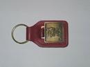 Custom Top Grain Leather Large Rectangle Key Tag w/ Metal Medallion Key Fob