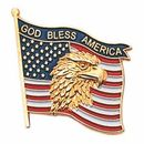 Blank Military Award Lapel Pins (Eagle & American Flag/God Bless America), 7/8