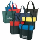 Custom Large Travel Poly Tote Bag with Top Zipper & Multi Pockets