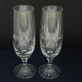 Medallion Champagne Clear Crystal Flutes as A Pair of 2, 8 oz, Price/piece