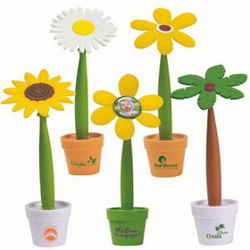 Custom Potted Pen - 5 different type of flowers, Three Colors, Plastic, Price/piece