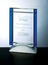 Custom Blue Deco Award - Optic Crystal