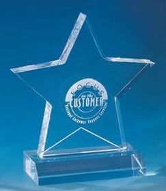 "4""x2""x5-1/2"" Acrylic Star Award (Screened), Price/piece"