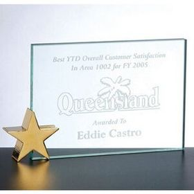 Achievement Award W/ Brass Star Holder (4x6) - Screened, Price/piece