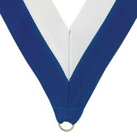 "Blue/White Grosgrain Imported V Neck Ribbon - Medal Holder (32""x1 3/8""), Price/piece"