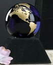 Custom Cobalt Blue Glass World Globe Award w/ Base (3