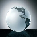 Custom World Globe with Flat Bottom & Etched Oceans - Molded Glass (3 1/8