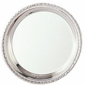 "Polished Stainless Steel Gadroon Tray w/ Etched Rim (10""), Price/piece"