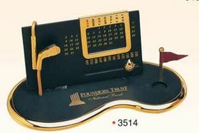 "7""x3-1/2""x3"" Gold Plated Perpetual Desk Calendar w/ Base (Screened), Price/piece"