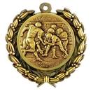 Custom Stock Football Medal w/ Wreath Edge /1 1/2